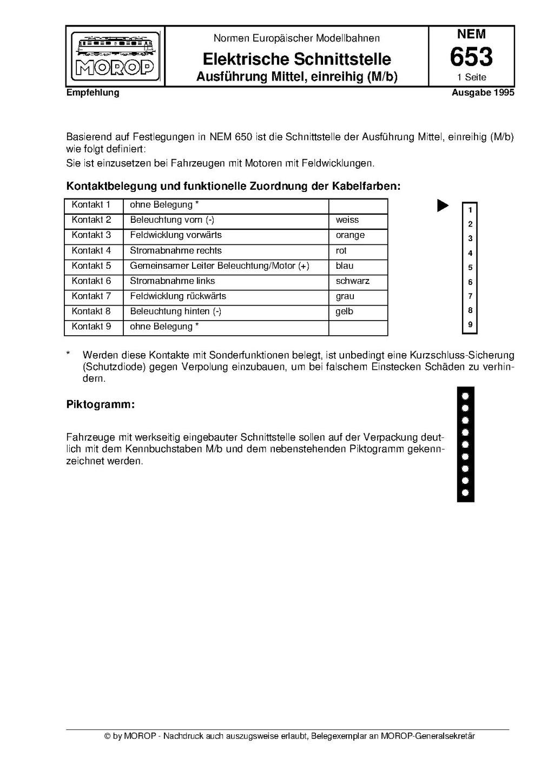 MOROP NEM 653 Elektrische Schnittstelle - Ausführung Mittel ...