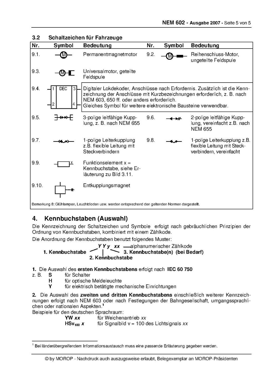 MOROP NEM 602 Modellbahnsteuerungen - Symbole, Schaltzeichen ...